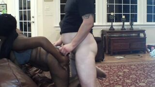Cutie Ebony Skin Inky Gets Screwed Heavy Doggy Style by out of Shape White Chap trying to Show Off!