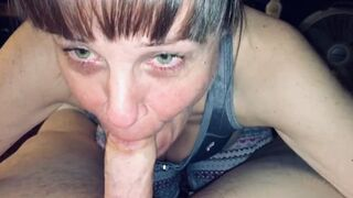 Friends Stepmom Love's Sucking my Young Lady Dick Dry and Showing me her Jizz Mouth