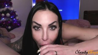 EXTREME EYE CONTACT! DRIPPING SLOPPY SUCKING DICK in RED LINGERIE with SPERM in her THROAT!