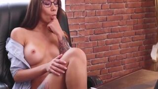 Amazing with Glasses Slowly Gets Nude and Plays on Table 4k