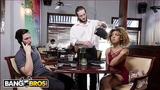 BANGBROS - Xianna Hill Is Being Ignored By Her Boyfriend At Restaurant, So The Waiter Steps In To Help