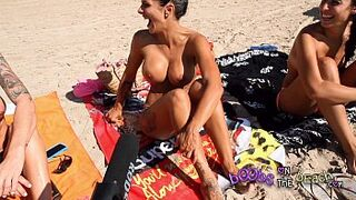 Topless Beach Interviews with real excited sluts abroad on vacation