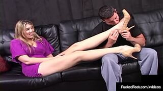 Athena Pleasures Gives Babe Footjob And Gets Milk All Over!
