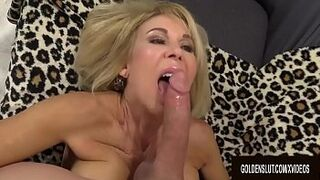 Smiley Granny Erica Lauren Slides Her Aged Vagina up and down a Long Manmeat