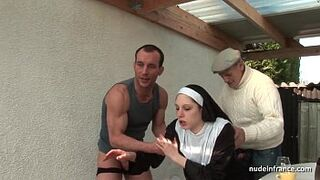 Childlike french nun screwed rough in Menage a Trois with Papy Voyeur