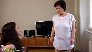 OldNanny adolescent with grandma uses vibrator on the table