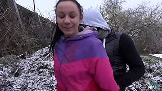 Freezing cutie banged on the snow by naughty stranger