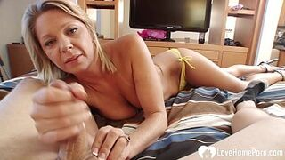 Desirable light-colored mom fancy a stretched shaft