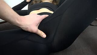 Brown-Haired in sable yoga leggings turned on a male with a large dick, jerks off and cums on leggings