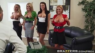 Brazzers - Enormous Boobs at Work - Office four-Play Christmas Edition scene starring Chanel Preston Krissy L