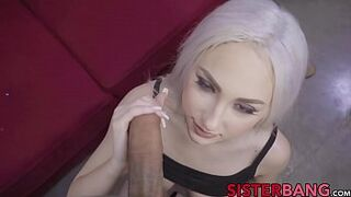 Chesty daughter in law facialized after banging her enormous cocked brother-in-law