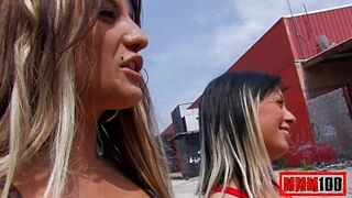 two amazing spanish gals sucking and fucking in open space place , great trio