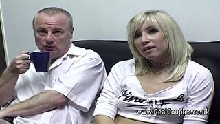 Old guy cleans his girlfriends cummy anal