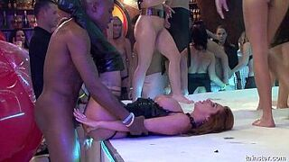 Appealing party bitches gets nailed at orgy party