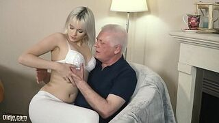 Young Lady light-colored hardcore oral and deep rigid vagina fucking with grandpa in old young lady porn video