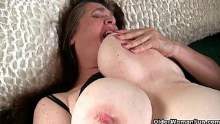 Grandmother with massive bobbies wakes up sexy