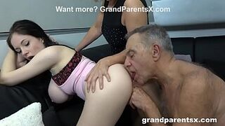 Old Couple Teaches 18Yo Maid How to Shag