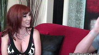 Red-Haired mother in stockings gets banged