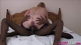Granny gobbles and sit on immense ebony penis