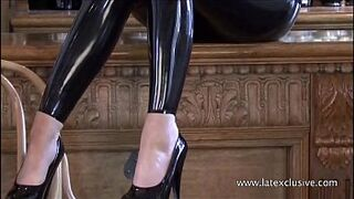 Latex bartender Sarahs catsuit service and glamour brown-haired