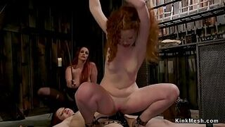 Mistress whips and butthole fucks 2 slaves