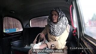 Czech light-colored woman bangs in fake taxi