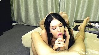 Young Lady darkis sucks penis and makes him sperm with tongue