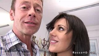 Beauty Queen dark-haired Scarlet A gets butthole humped from behind on sofa