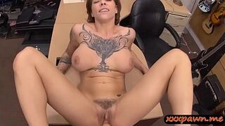 Big Tits lady with tattoo screwed so strong at the pawnshop