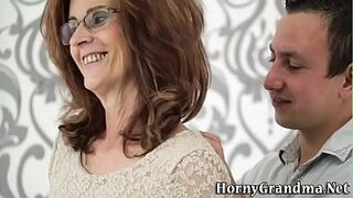 Doggystyle fucked grandmother gets butt spermed