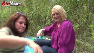 FUN MOVIES Newbie Mommy Lesbians fucking in the forest