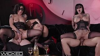 UNPLEASANT Babe Gold, Vicki Chase & Jessie Lee Please Fellas In Kinky Sexual Intercourse Party