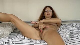 Watch Helen Volga playing with her hairy vagina