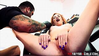 Melissa Rose fucking while getting a tattoo