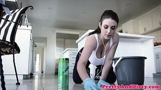 Pussylicked maid drilled by y. man
